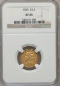 Classic Quarter Eagles: , 1835 $2 1/2 XF45 NGC. NGC Census: (27/224). PCGS Population(30/111). Mintage: 131,402. Numismedia Wsl. Price for problem f...