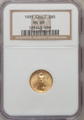 Modern Bullion Coins: , 1991 G$5 Tenth-Ounce Gold Eagle MS69 NGC. NGC Census: (1863/109).PCGS Population (968/3). Mintage: 165,200. Numismedia Wsl...