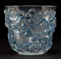 Glass, R. LALIQUE CLEAR AND FROSTED GLASS AVALLON VASE WITH BLUE PATINA . Circa 1927 . Stenciled: R. LALIQUE, FRANCE ...