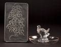 Art Glass:Lalique, R. LALIQUE CLEAR AND FROSTED GLASS DINDON ASHTRAY ANDRAISIN CHASSELAS MENU PLAQUE . Cir... (Total: 2Items)