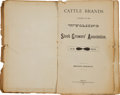 Books:Americana & American History, 1883 Wyoming Cattle Brands Book....