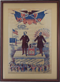 Political:Textile Display (1896-present), McKinley & Hobart: Fabulous 1896 Cloth Campaign Banner inChoice Condition....