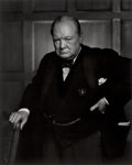 Photographs:20th Century, YOUSUF KARSH (Canadian, 1908-2002). Winston Churchill, 1941.Gelatin silver, printed later. 19-5/8 x 15-3/4 inches (49.8...
