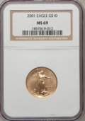 Modern Bullion Coins: , 2001 G$10 Quarter-Ounce Gold Eagle MS69 NGC. NGC Census:(3019/433). PCGS Population (2816/17). Numismedia Wsl. Price for...
