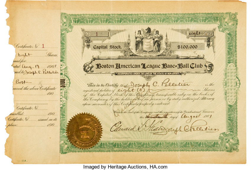 1901 Boston Red Sox Stock Certificate Number One--The Birth of | Lot ...