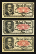 Fractional Currency:Fifth Issue, Fr. 1380 50¢ Fifth Issue Extremely Fine-About New. Three Examples.. ... (Total: 3 notes)