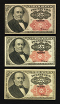 Fractional Currency:Fifth Issue, Fr. 1308 25¢ Fifth Issue; Fr. 1309 25¢ Fifth Issue Two Examples.About New to New.. ... (Total: 3 notes)