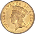 Three Dollar Gold Pieces, 1865 $3 AU58 PCGS. CAC....