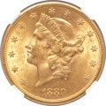Liberty Double Eagles, 1880-S $20 MS61 NGC....