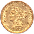 Liberty Quarter Eagles, 1843-O $2 1/2 Large Date, Plain 4 AU58 PCGS. Variety 1....