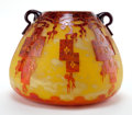Art Glass:Schneider, CHARLES SCHNEIDER LE VERRE FRANCAIS GLASS FRENES VASE .Yellow glass vase with applied handles and orange to vio...