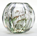 Art Glass:Other , EDVARD HALD ORREFORS GLASS VASE . Glass hexagonal vase in the Graal fashion with swimming fish motif, circa 1930. Engraved: ...
