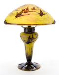 Art Glass:Schneider, CHARLES SCHNEIDER LE VERRE FRANCAIS GLASS HALBRANS LAMP .Yellow glass lamp with removable shade with ochre over...