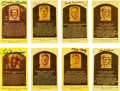 Autographs:Post Cards, 1980's-90's Hall of Famers Signed Gold Plaques Lot of 65....