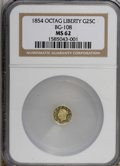 California Fractional Gold: , 1854 25C Liberty Octagonal 25 Cents, BG-108, Low R.4, MS62 NGC. NGCCensus: (4/10). PCGS Population (40/47). (#10377)...