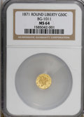 California Fractional Gold: , 1871 50C Liberty Round 50 Cents, BG-1011, R.2, MS64 NGC. NGCCensus: (4/13). PCGS Population (56/36). (#10840)...