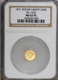 California Fractional Gold, 1871 50C BG-1026 MS62 Prooflike NGC. NGC Census: (3/2).(#710855)...