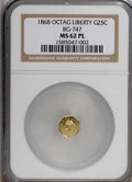 California Fractional Gold, 1868 25C BG-747 MS62 Prooflike NGC. . NGC Census: (2/2).(#710574)...