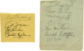 Autographs:Letters, Vintage Multi-Signed Album Pages Lot of 2 with Ted Williams andVince DiMaggio. Great pair of vintage signed pages from som...