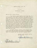 Autographs:Letters, 1947 George Weiss Signed Typed Letter. George Weiss, manager of theNew York Yankees' farm system from 1932-47, was one of ...