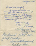 Autographs:Baseballs, 1947 Sam Crawford Signed Handwritten Letter. Exceptionalhandwritten letter that we offer here was sent by Hall of FamerSa...