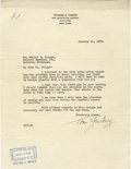 Autographs:Letters, 1938 Thomas Yawkey Signed Typed Letter. In 1933 businessman ThomasYawkey purchased the struggling Boston Red Sox, maintain...