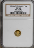 California Fractional Gold, 1871 50C BG-924 MS65 Prooflike NGC. (#710782)...
