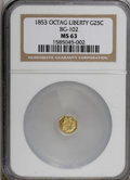 California Fractional Gold: , 1853 25C Liberty Octagonal 25 Cents, BG-102, Low R.4, MS63 NGC. NGCCensus: (3/4). PCGS Population (37/17). (#10371)...