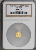 California Fractional Gold, 1870 25C BG-759 MS62 Prooflike NGC. NGC Census: (2/6). (#710586)...
