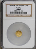 California Fractional Gold: , 1873 50C Indian Octagonal 50 Cents, BG-942, Low R.5, MS63 NGC. NGCCensus: (1/0). PCGS Population (16/11). (#10800)...