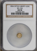 California Fractional Gold: , 1854 25C Liberty Octagonal 25 Cents, BG-104, R.4, AU58 NGC. NGCCensus: (1/4). PCGS Population (4/53). (#10373)...