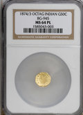 California Fractional Gold: , 1874/3 50C BG-945 MS64 Prooflike NGC. (#710803)...
