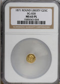 California Fractional Gold, 1871 25C BG-838 MS63 Prooflike NGC. NGC Census: (5/7). (#710699)...