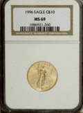 Modern Bullion Coins: , 1996 G$10 Quarter-Ounce Gold Eagle MS69 NGC. NGC Census:(4604/316). PCGS Population (220/2). Mintage: 60,318. NumismediaW...