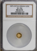 California Fractional Gold, 1875 25C Indian Octagonal 25 Cents, BG-784, High R.5, MS65Prooflike NGC. (#710611)...