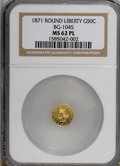 California Fractional Gold, 1871 50C BG-1045 MS62 Prooflike NGC. (#710874)...