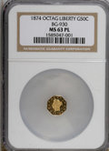 California Fractional Gold, 1874 50C BG-930 MS63 Prooflike NGC. (#710788)...