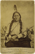 Photography:Cabinet Photos, REPRODUCED CABINET PORTRAIT OF SITTING BULL. Unusual artist'sreproduction of the famous O.S. Goff 1881 photograph of Sittin...(Total: 1 Item)