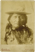 Photography:Cabinet Photos, BUST IMAGE OF SITTING BULL WITH MONARCH BUTTERFLY. Handsome cabinetcard of the great Sioux chief taken circa 1880-1890. Sit... (Total:1 Item)