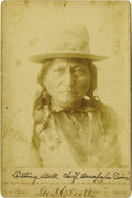 Photography:Cabinet Photos, BUST IMAGE OF SITTING BULL WITH ORIGINAL NEWSPAPER STORY.Well-known image of Sitting Bull in embroidered buckskin jacketwi... (Total: 1 Item)