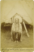 Photography:Cabinet Photos, GILBERT & BACON CABINET CARD OF SITTING BULL. This nearlyperfect cabinet card of Sitting Bull was probably originallyphoto... (Total: 1 Item)