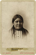Photography:Cabinet Photos, BARRY CABINET PHOTO OF WALKING COW. Attractive head and shouldersimage of Walking Cow of the Sioux tribe, taken by D.F. Bar...(Total: 1 Item)