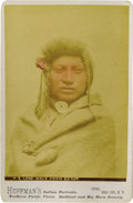 "Photography:Cabinet Photos, INCREDIBLE HUFFMAN PORTRAIT OF LONE WOLF. This beautiful hand-tinted Huffman bust portrait depicts ""Lone Wolf Crow Scout,"" ... (Total: 1 Item)"