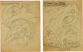 Original Comic Art:Miscellaneous, Harry Sahle or Carl Burgos (attributed) Human Torch #8 CoverSplash Page 1 Pencil Preliminary Sketch Original Art ... (Total: 2Items)