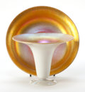 Art Glass:Steuben, STEUBEN GLASS BOWL AND TRUMPET VASE . Glass bowl and trumpet vasewith gold calcite interiors, circa 1925. 10-1/4 inches dia...(Total: 2 Items)