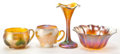 Art Glass:Tiffany , FOUR GLASS PIECES BY VARIOUS MAKERS . Group comprising a Tiffanygold Favrile cup with green leaf motif, a Kew-Blas gold bo...(Total: 4 Items)