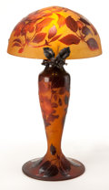 Art Glass:Other , D'ARGENTAL ORANGE AND RED GLASS TABLE LAMP . Orange glass lamp andshade with red overlay, acid-etched and wheel-carved in f...(Total: 2 Items)