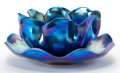 Art Glass:Tiffany , TIFFANY STUDIOS FAVRILE GLASS FINGER BOWL AND UNDERPLATE . Peacockblue Favrile glass finger bowl with ruffled edge and matc...(Total: 2 Items)