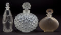 Art Glass:Lalique, THREE R. LALIQUE GLASS PERFUME BOTTLES. Comprising frosted glass Telline with sepia patina, clear glass Palerme, and... (Total: 3 Items)