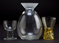 Art Glass:Lalique, R. LALIQUE CLEAR GLASS DECANTER AND TWO GLASSES . Comprising aNippon carafe, and Saint-Nabor and Marienthalgla... (Total: 3 Items)